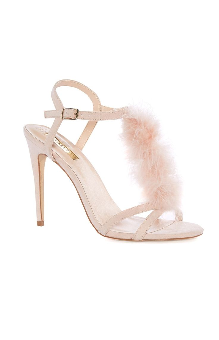 Nude Fluffy Strap Stiletto Heel