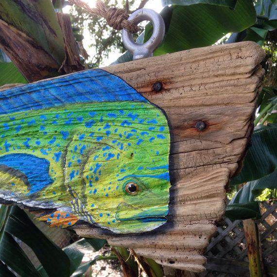 Mahi Mahi painted on driftwood on Etsy, $300.00