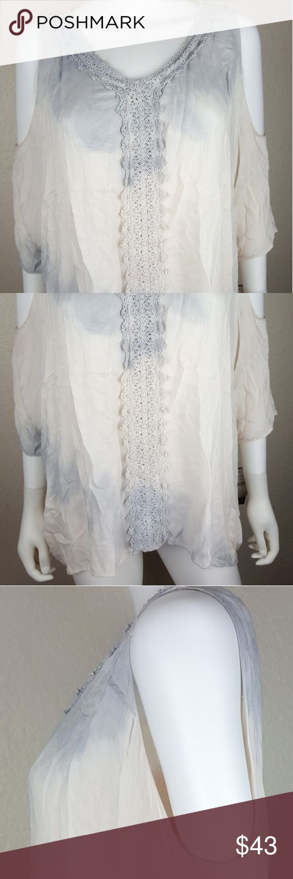 Wit & Wisdom Women's Blouse Size Small NWT Neutral Wit & Wisdom women's multi colored neutral blouse.  Size Small.  Cold Shoulder.  100% Rayon  Brand new with tags $68   Armpit to armpit 31 inches  Length 25 inches Wit & Wisdom Tops Blouses