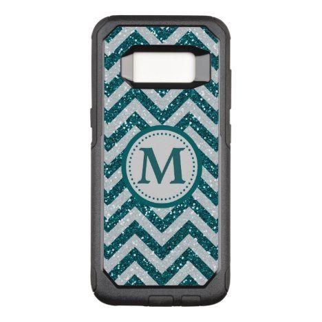 Aqua Blue Chevron Monogram Silver OtterBox Commuter Samsung Galaxy S8 Case