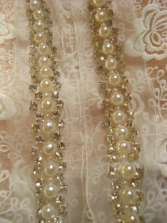 pearl beaded Trim rhinestone beaded trim bridal by WeddingbySophie