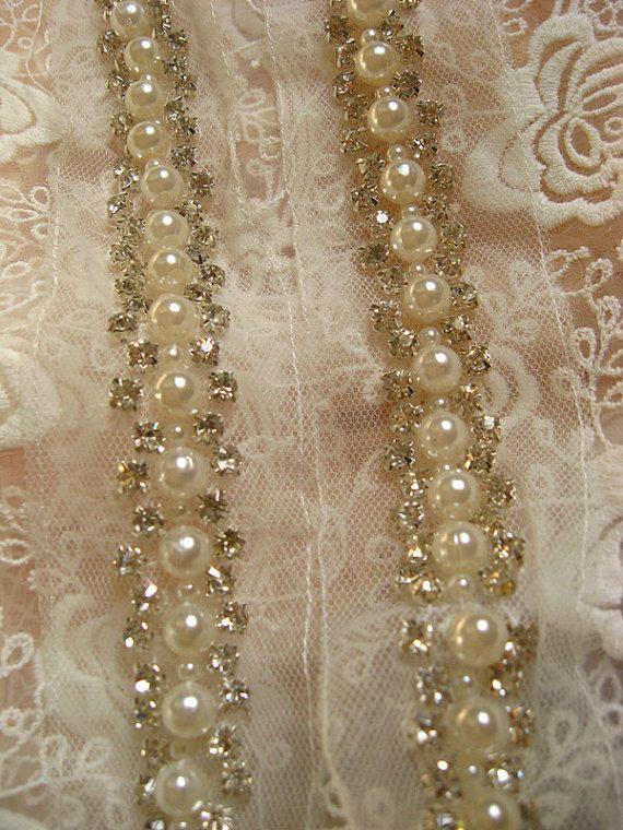 pearl beaded Trim rhinestone beaded trim