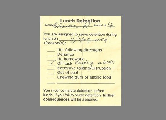 This is the kind of detention note I expect to see any day now... :-)