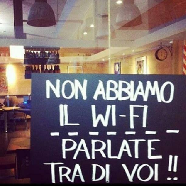 non abbiamo il wi-fi parlate tra di voi!!