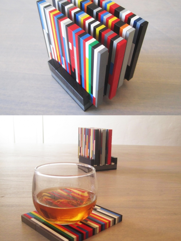 Adam, the Lego King (some seriously cool grown up Lego ideas, including these coasters)