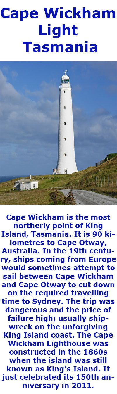 Cape Wickham Lighthouse, King Island, Tasmania, Australia. Tallest in the Southern Hemisphere.