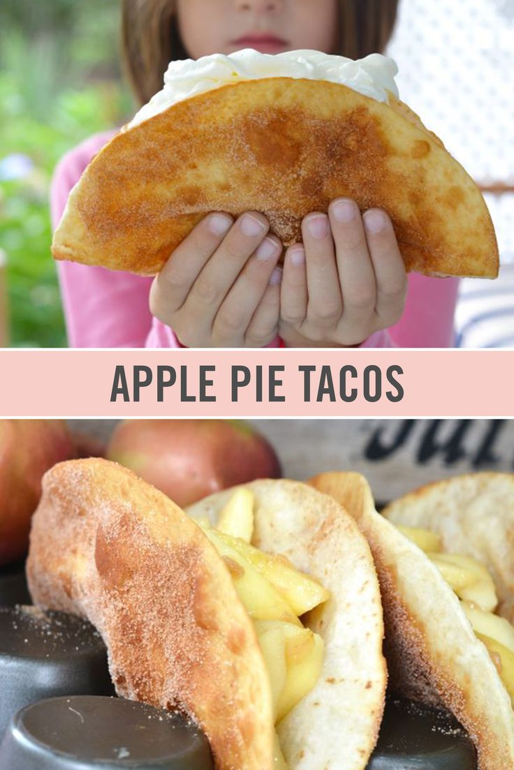 These Apple Pie Tacos are half the work and twice the fun of regular apple pies. This dessert taco recipe is a perfect way to mix up a fall favorite.