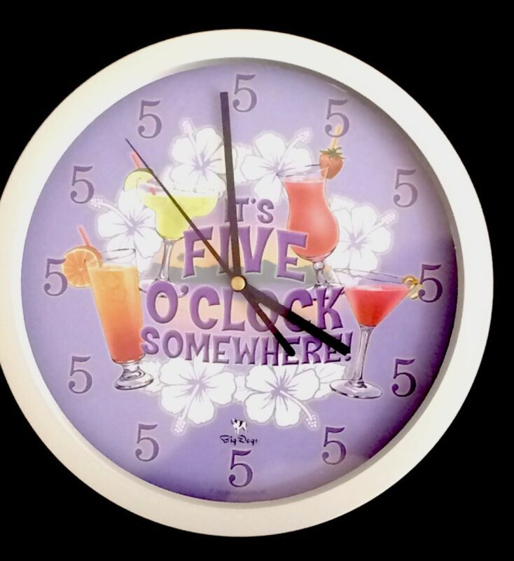 Its Five O Clock Somewhere Wall Clock 10 Inches Big Dogs In 2020 Retro Wall Clock Vintage Wall Clock Wall Clock