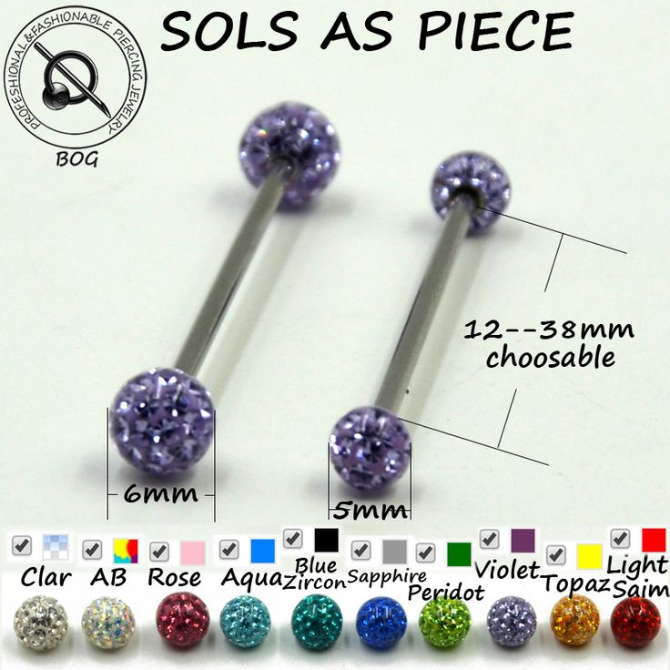 BOG-1PC Straight Industrial Barbells Bars Tongue Nipple Ear Cartilage Tragus Piercing Rings Body Jewelry Ferido Disco Ball 14g
