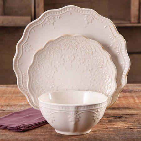 The Pioneer Woman Farmhouse Lace Dinnerware Set, 12-Piece (1, Linen)