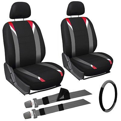 9pc Red Gray Black Front Car Seat Cover Set Bucket Chairs w/Steering Wheel Cover