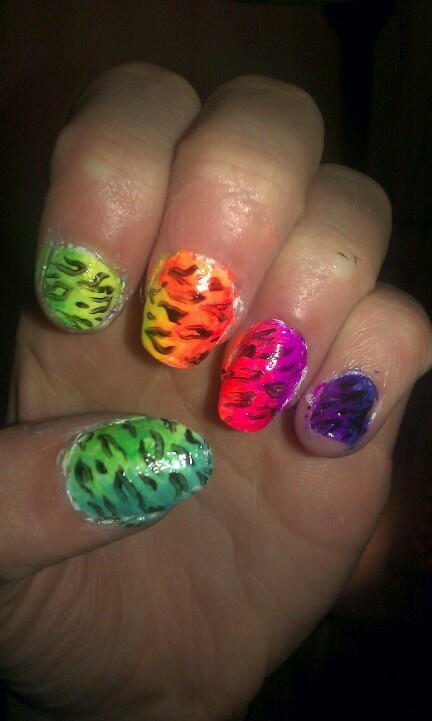 Ombre cheetah rainbowness!!