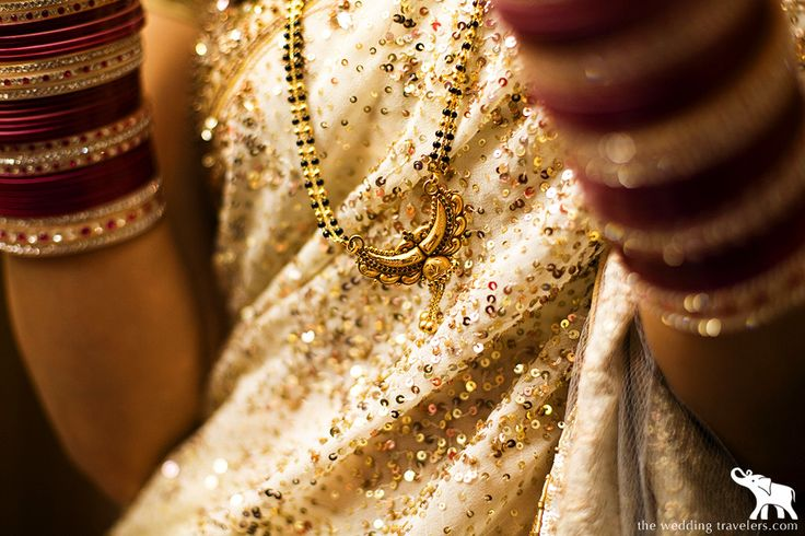 """The 'mangal sutra', a necklace usually made of black beads and gold, is put by the groom on the bride during the wedding ceremony. It symbolizes their marriage and is worn by her until her death. It is one of the """"solah shringar"""" or 16 adornments of the Indian Hindu Bride ----  #wedding #tradition #ritual #blackbook"""