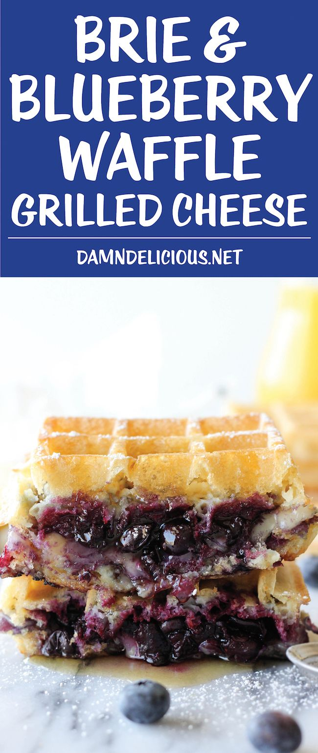 Brie and Blueberry Waffle Grilled Cheese - The perfect grilled cheese for breakfast, lunch or dinner!
