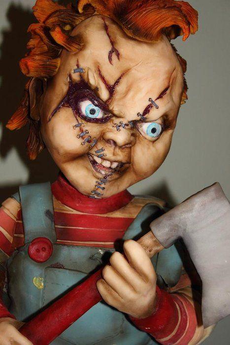 Chucky and his Bride sculpted cake - by sweetassugarcakes @ CakesDecor.com - cake decorating website