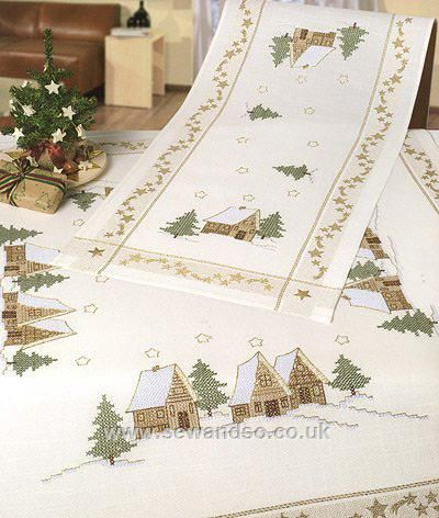 stamped christmas crosstitch | Christmas Chalets Stamped Cross Stitch Tablecloth - 90 x 90cm - Sew ...