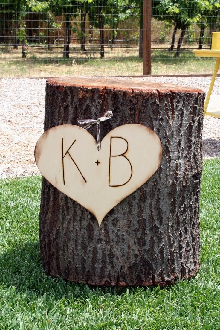 Tree borers amp bark beetles arborx tree health care - Instead Of An Arbor For A Rustic Vintage Wedding Theme I Came Up With Tree Stumps With Heart Carvings We Placed On Each Side Of The Ceremony With Large
