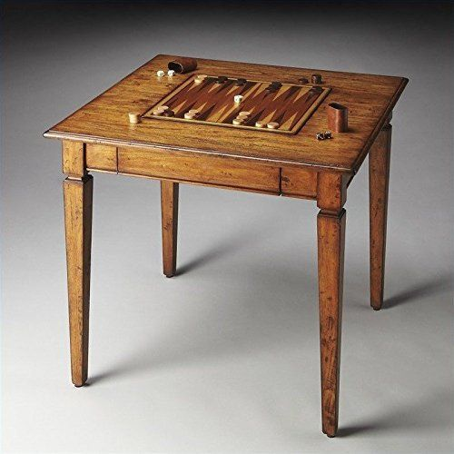 Crafted from geminin solid wood in a transparent finish to showcase beautiful wood grains, knots and all. The playing surface flips from backgammon on one side to chess/checkers on the other with a storage drawer for game pieces. The tabletop is beveled, and the legs are tapered. Game pieces may... more details available at https://furniture.bestselleroutlets.com/game-recreation-room-furniture/game-tables/product-review-for-woybr-2364120-game-table-modern/