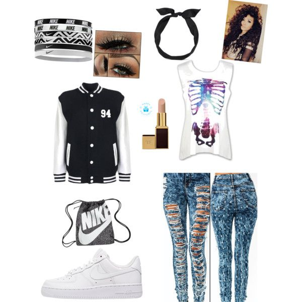 A fashion look from December 2014 featuring NIKE sneakers, NIKE handbags and yunotme hair accessories. Browse and shop related looks.
