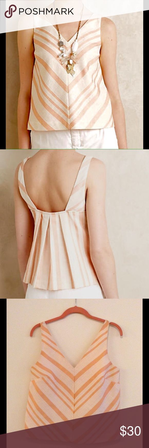 Anthropologie HD in Paris Peach Chevron Top Anthropologie HD in Paris Peach and Cream Chevron Top - gently worn sleeveless top. Size: 8 US. 56% Cotton, 24% linen, 10% polyester blend. Fully lined with cream fabric. Perfect for spring. Anthropologie Tops Crop Tops
