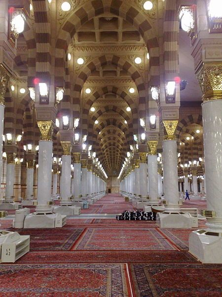 Inside of the Al-Masjid al-Nabawi, Medina, Saudi Arabia