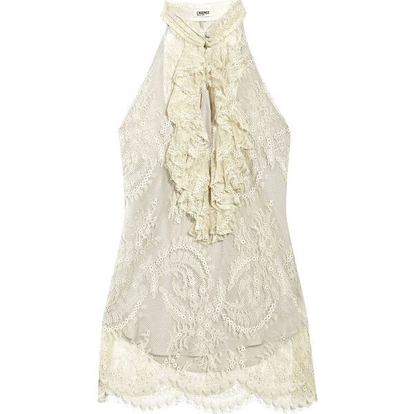 L'Agence Chantilly-lace halterneck top (€245) ❤ liked on Polyvore featuring tops, blouses, shirts, blusas, ruffle shirt, ruffle blouse, white lace top, high neck white blouse and white lace slip