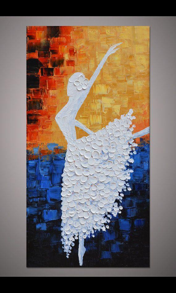 Bailarina de baile pintadas a mano pintura pared cuadro living