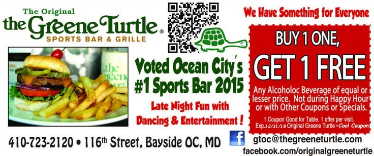 The Original Greene Turtle Cool Coupon... #oceancitycool #coupons