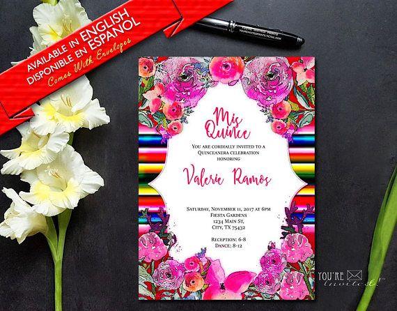Mexican Sarape Quinceanera Invite Party Theme