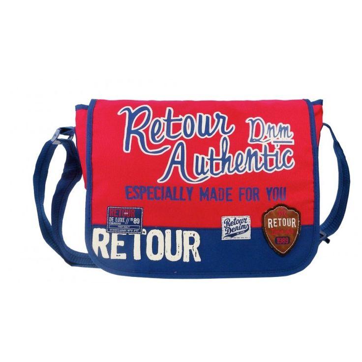 Coole schooltas van Retour! Retour 450-5323 - Schoudertas Top of the world (rood)
