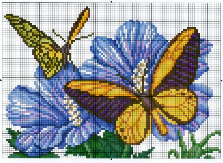 Схема вышивки крестом бабочки и цветы
