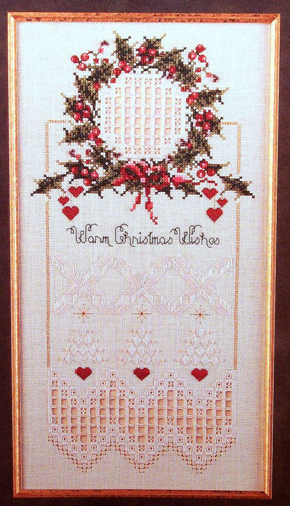WARM CHRISTMAS WISHES Sampler Cross Stitch/Hardanger Leaflet. $7.00, via Etsy.