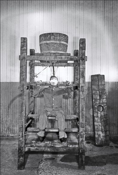 "As seen here, this variation of Chinese water torture known as the ""shower bath"" was popular until about 1860. A steady drip of water from the vat onto the tightly bound inmate's head could last hours or as long as the guards deemed necessary."