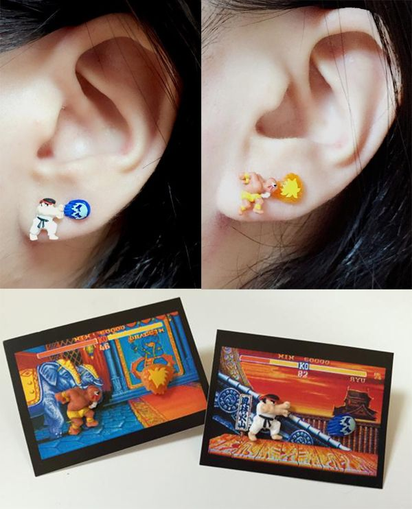 These 'Street Fighter II' Earrings Throw Hadoukens And Flames