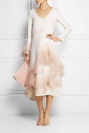 Marc JacobsOrganza-trimmed wool-crepe dress
