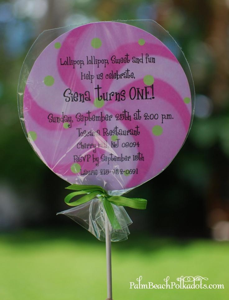 Candyland Lollipop Birthday Invitation by palmbeachpolkadots. $2.25, via Etsy.