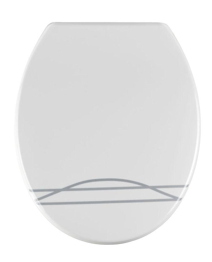 WENKO WC-Sitz Noa  Description: Das ausgefallene Motiv auf diesem weißen WC-Deckel sorgt für Individualität im Gäste-WC oder Badezimmer. Der aus hochwertigem Duroplast hergestellte WC-Sitz Noa hat eine klassisch ovale Form mit weißer Innengestaltung. Er eignet sich auch sehr gut zum Einsatz auf Toiletten mit erhöhtem Publikumsverkehr wie z.B. in Geschäften Praxen oder Büros da er sehr kratzfest bruchsicher strapazierfähig und auch zigarettenglutresistent ist. Die hygienische Oberfläche ist…