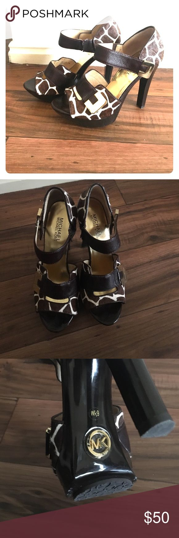 Michael Kors - Size 6 1/2, 4 inch heels Classy Cow print,  gold latches, tip latches unsnap and have 2 size options,  gold soles,  deep brown 4 inch heels, set 1 inch off ground. Michael Kors Shoes Heels