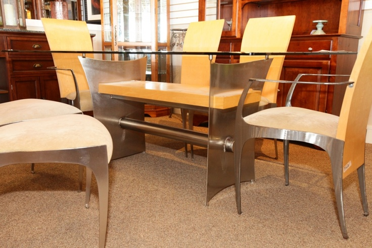 Modern glass top dining table with 6 chairs colleen 39 s for Dining room tables las vegas