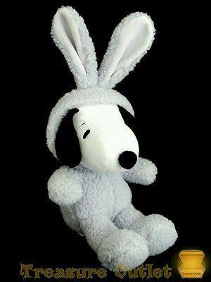 Hallmark Stuffed Plush Easter Snoopy Beagle Dog In Purple Bunny Rabbit Costume