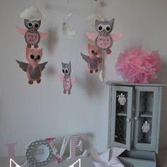 Dispo - mobile hiboux chouettes nuages lune gris rose blanc - décoration chambre bébé enfant fille