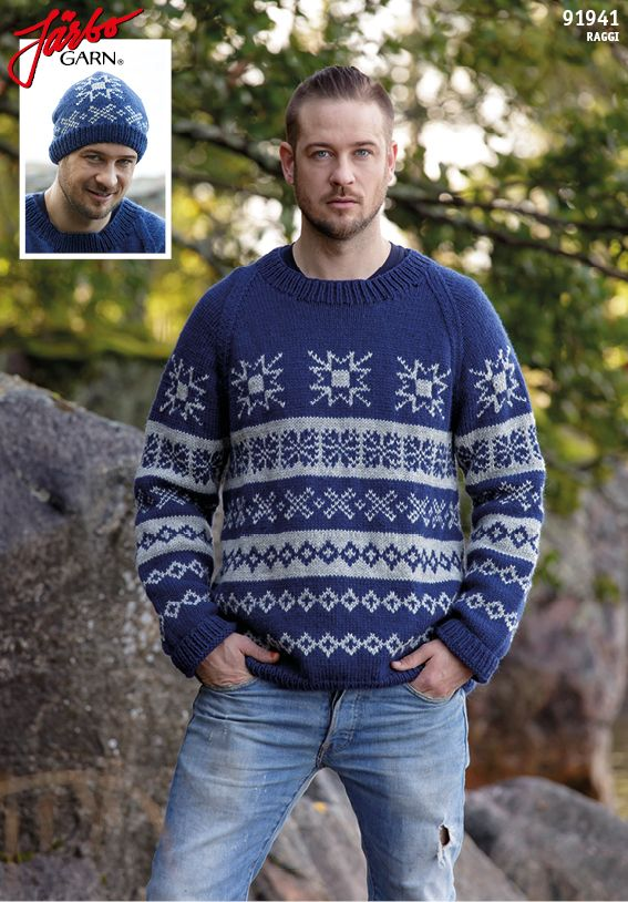 Men's sweater with matching hat.