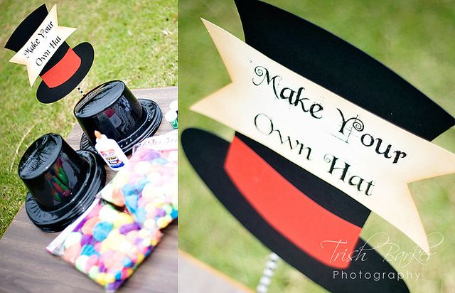 Mad Hatter Sign- Fun Alice in Wonderland Party Activity-  Make Your Own Hat! by windrosie, via Flickr