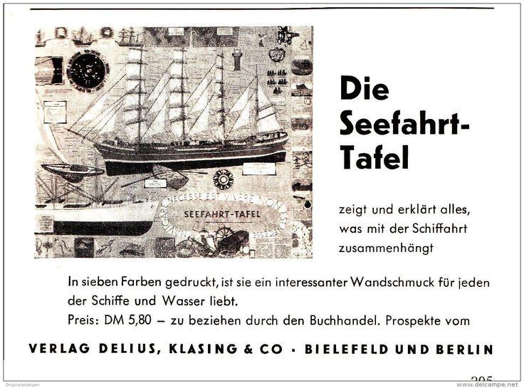 Original-Werbung/ Anzeige 1959 - DIE SEEFAHRT TAFEL / VERLAG DELIUS, KLASING & CO.  BIELEFELD - Ca. 115 X 80 Mm - Werbung