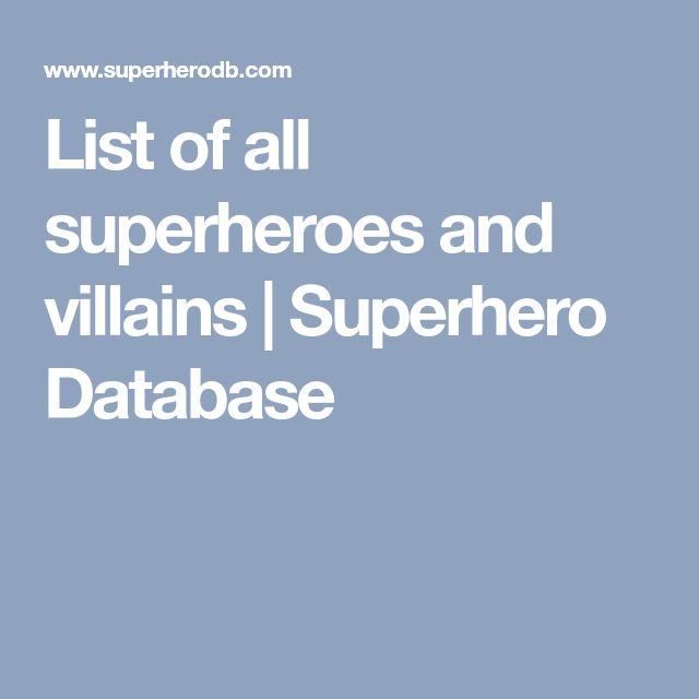 List of all superheroes and villains | Superhero Database