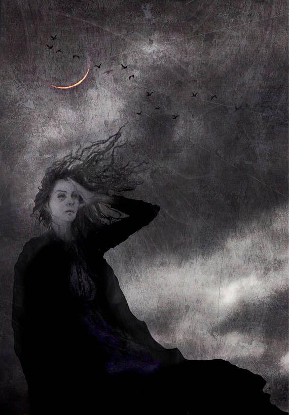 Gothic art print  figure in the landscape  dark romanticism