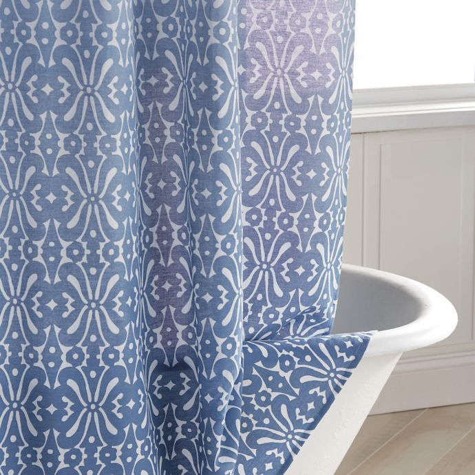 Daya Shower Curtain In Blue With Images Shower Curtain