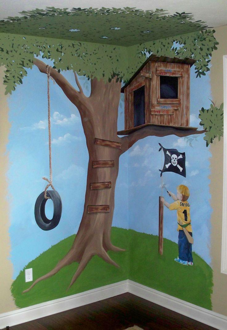 Hand painted tree house mural 7 39 x 7 39 custom designed for Custom mural painting