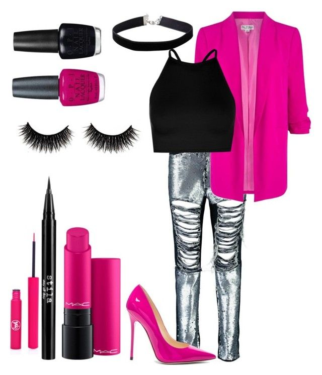 """Tickled pink"" by danielle-bell-i on Polyvore featuring Boohoo, Miss Selfridge, Jimmy Choo, MAC Cosmetics, OPI, Stila and Sigma"