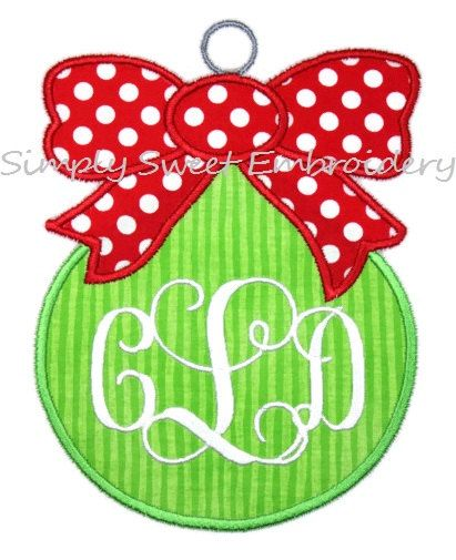 Christmas Ornament with Bow Applique by SimplySweetEmbroider, $4.00